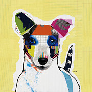 Dog Pet Portraits Mixed Media Posters - Jack Russell Terrier Poster by Michel  Keck
