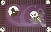 Nightmare Before Christmas Painting Prints - Jack Skellington With The Oggie Boogie Floor Cloth 2012 Print by Cindy Micklos