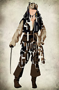 Digital Paintings - Jack Sparrow Inspired Pirates of the Caribbean Typographic Poster by Ayse Toyran