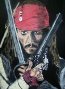 Johnny Mixed Media Posters - Jack Sparrow Johnny Depp Poster by Dan Twyman