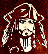 Jack Sparrow Paintings - Jack Sparrow original coffee painting by Georgeta Blanaru