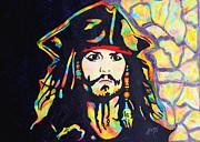 Film Watercolor Paintings - Jack Sparrow original watercolor painting by Georgeta Blanaru