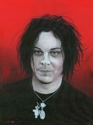 Celebrities Painting Metal Prints - Jack White Metal Print by Christian Chapman Art