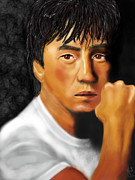 Jackie Digital Art Framed Prints - Jackie Chan Framed Print by Mathieu Lalonde