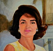 First Lady Paintings - Jackie Kennedy Onassis by Shirl Theis