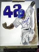 Baseball Art Drawings Originals - Jackie Robinson 42 by Edward Settles