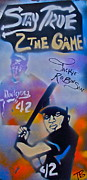 Tony B Conscious Art - Jackie Robinson Blue by Tony B Conscious