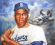 Los Angeles Dodgers Hall Of Fame Framed Prints - Jackie Robinson Framed Print by Carole Diane Heslin