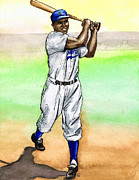 Baseball Bat Drawings - Jackie Robinson by Mel Thompson