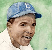 Second Base Framed Prints - Jackie Robinson Framed Print by Nigel Wynter