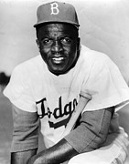 Baseball Bat Photo Prints - Jackie Robinson Portrait Print by Sanely Great