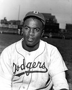 Baseball Posters - Jackie Robinson Portrait Poster by Sanely Great