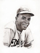 Athletes Drawings Framed Prints - Jackie Robinson Framed Print by Rosalinda Markle