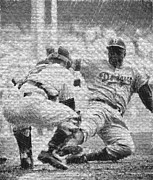 1955 World Series Prints - Jackie Robinson Steals Home Print by Woolman Brothers