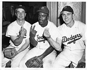 Athletes Photo Prints - Jackie Robinson with Teammates Print by Sanely Great