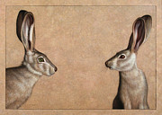Brown Drawings Framed Prints - Jackrabbits Framed Print by James W Johnson