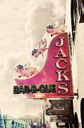 Old Sign Prints - Jacks BBQ Print by Amy Tyler