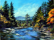 Shoreline Pastels Prints - Jackson Falls New Hampshire Print by Denise Horne-Kaplan