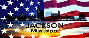 Jackson Prints - Jackson MS Patriotic Large Cityscape Print by Angelina Vick
