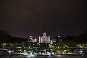 Carriage Horse Photos - Jackson Square at Night  by John McGraw