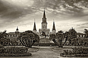 Quarter Horse Framed Prints - Jackson Square Evening sepia Framed Print by Steve Harrington