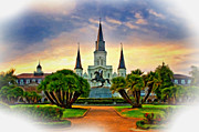 French Quarter Digital Art Framed Prints - Jackson Square Evening vignette Framed Print by Steve Harrington