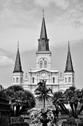 Jackson Digital Art Prints - Jackson Square in Black and White Print by Bill Cannon