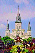 Jackson Digital Art Prints - Jackson Square in the French Quarter Print by Bill Cannon