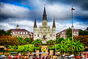 St Louis Cathedral Framed Prints - Jackson Square New Orleans Framed Print by Jarrod Erbe