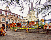 French Quarter Digital Art Framed Prints - Jackson Square Winter 2 impasto Framed Print by Steve Harrington
