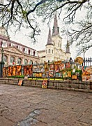 Spire Posters - Jackson Square Winter impasto Poster by Steve Harrington