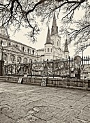 New Orleans Photo Framed Prints - Jackson Square Winter sepia Framed Print by Steve Harrington