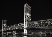 City Lights Posters - Jacksonville Florida Main Street Bridge Poster by Christine Till