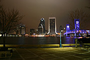 Riverwalk Photos - Jacksonville riverwalk night by Ules Barnwell