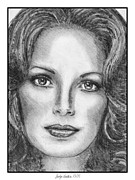 Closeups Drawings Framed Prints - Jaclyn Smith in 1976 Framed Print by J McCombie