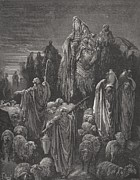 White Drawings Posters - Jacob Goeth Into Egypt Poster by Gustave Dore