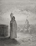 Atmospheric Drawings Prints - Jacob Keeping Labans Flock Print by Gustave Dore