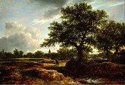 Delacroix Prints - Jacob van Ruisdael Landscape with a Village in the Distance 1646 Print by MotionAge Art and Design - Ahmet Asar