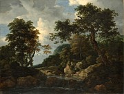 Delacroix Prints - Jacob van Ruisdael The Forest Stream c1660 Print by MotionAge Art and Design - Ahmet Asar
