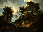 Delacroix Prints - Jacob van Ruisdael The Forest Stream Print by MotionAge Art and Design - Ahmet Asar