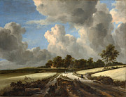 Delacroix Prints - Jacob van Ruisdael  Wheat Fields c 1670 Print by MotionAge Art and Design - Ahmet Asar
