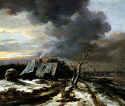 Delacroix Prints - Jacob van Ruisdael Winter Landscape with a view of the Amstel River and Amsterdam the 1650s Print by MotionAge Art and Design - Ahmet Asar