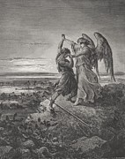 Religion Drawings Posters - Jacob Wrestling with the Angel Poster by Gustave Dore