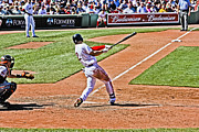 Red Sox Metal Prints - Jacoby at bat 2 Metal Print by Dennis Coates
