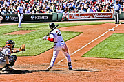 Red Sox Framed Prints - Jacoby at bat 3 Framed Print by Dennis Coates