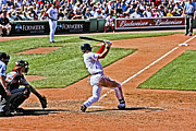 Red Sox Framed Prints - Jacoby at Bat Framed Print by Dennis Coates