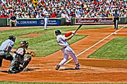 Red Sox Art - Jacoby Hits by Dennis Coates