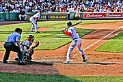 Red Sox Metal Prints - Jacoby watching the Ball Metal Print by Dennis Coates