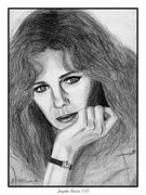 Hand Drawings Framed Prints - Jacqueline Bisset in 1983 Framed Print by J McCombie