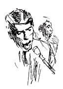 Belgium Drawings - Jacques Brel by Miki de Goodaboom